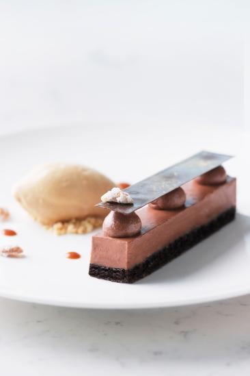 65% Maraicabo mousse, chocolate ice cream, truffle cake, hazelnut crunch